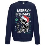 Premium Funny Retro Christmas Santa Hat Merry Fishmas Fishing Mens Navy Xmas Jumper Sweatshirt